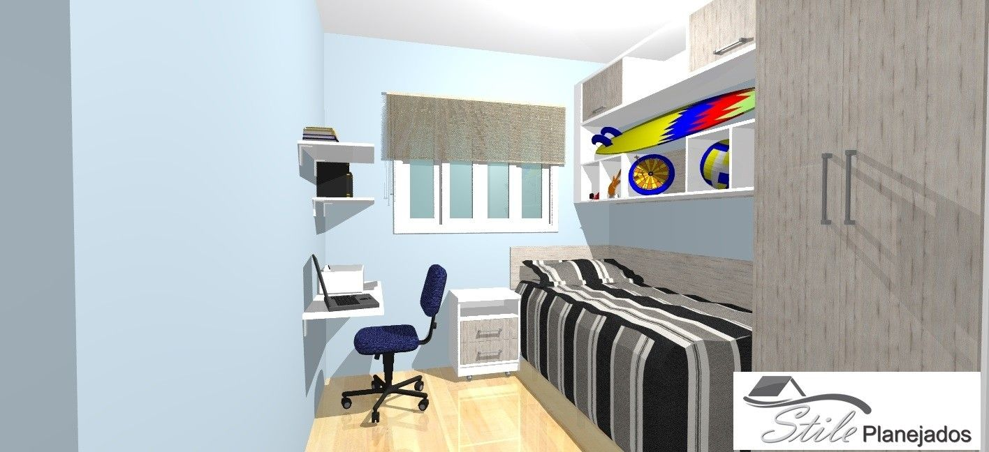Dormitório Planejado para Quarto Pequeno Stile Planejados ~ Quarto Solteiro Pequeno Planejado
